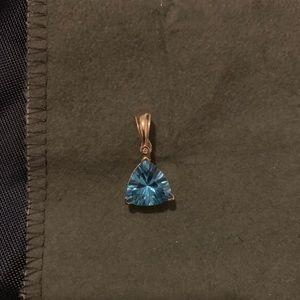 Jewelry - 14k blue topaz pendant with real diamond